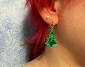 Tree Mirorred Green Acrylic Holiday earrings
