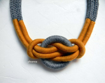 Statement necklace - Wool necklace - Minimalist jewelry - Tweed light grey, saffron yellow - Gift for woman.
