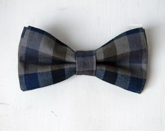 Men bow tie - Checkered bowtie - Italian bowtie - Tweed bow tie - Pre tied bow tie - Made in Italy - Blue - Taupe - Grey