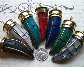 "25% Off Sale.. 1 5 10 pcs, Tibetan Horn Pendant Charm, Large Horn, Turquoise Mosaic, Gold Brass, 2"" in, Tribal Bohemian ap100.10 MH20 wf"