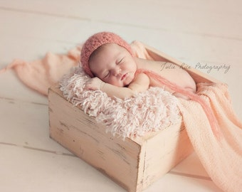 Newborn Photo Prop Fur Peekaboo Peach Basket StuFFeR Faux Fur Newborn Photo Props, Fur, Newborn Baby Photography Props, So SoFT