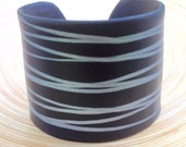 Black With Silver Lines, Abstract Design, cuff bracelet, handmade OOAK jewelry by theshagbag on Etsy