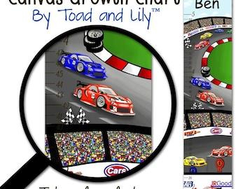 Canvas GROWTH CHART Race Car Boys Bedroom Baby Nursery Wall Art Growth Chart GC0089
