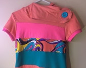 Funky Hooded TShirt - Size Small Orange Pink Teal Neon