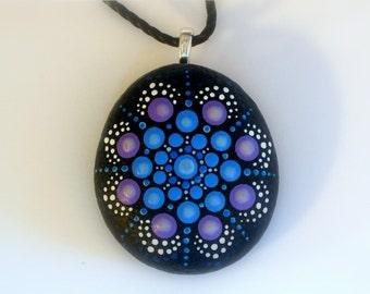 Ready to ship-Bohemian jewelry-pendant necklace-hippie gypsy tribal boho-mandala stone-painted rock-Zen-ooak neon glow-Yoga chakra-dot art