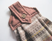 Button top towel  Brown modern  stripe towel Quiltsy Handmade