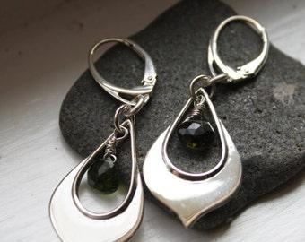 GreenTourmaline Lotus Petal Earrings Sterling Silver, Gemstone Earrings, Drop Earrings