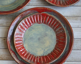 Rustic Dinnerware Set for Two - Pair of Place Settings in Sage Green and Red with Carved Side Plate Made in USA Ready to Ship