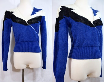 1970s Plunging V Neck Sweater Crossover Blue Long Sleeve Fitted Knit Top Small Notorious