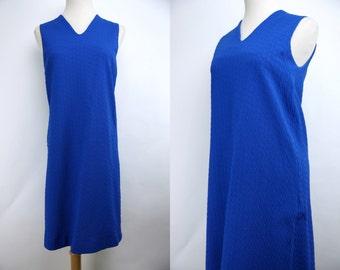 1960s Cobalt Blue Textured Shift Dress Sleeveless Mod Mini Day Dress Small Medium Scooter