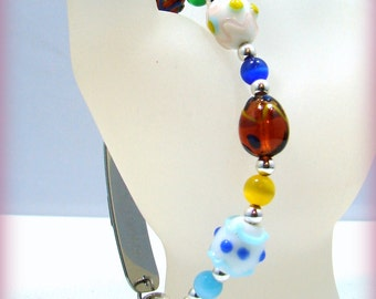 MEDICAL ID Alert Bracelet Easter Eggs Holiday Lampwork Glass Beaded