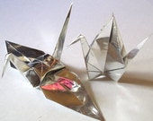 100 Large Origami Cranes Origami Paper Cranes - Made of 15cm 6 inches Japanese Foil Paper - Silver