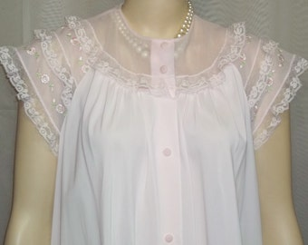 Vintage Shadowline PInk Robe Peignoir Nightgown Nylon Medium Embroidered Roses