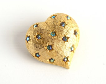 VINTAGE Weiss Aurora Borealis Gold Heart Pin Brooch (Bridal Wedding Bouquet Pin, Updo Hairstyle Jewelry, 1960s)
