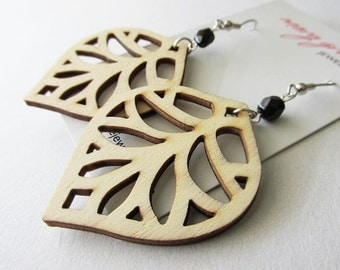 Natural Wooden Leaf and Black Glass Earrings. Woodland Hippie
