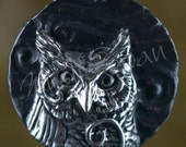 Spirit Owl Fantasy Pendant with Tube Bail in Sterling Silver
