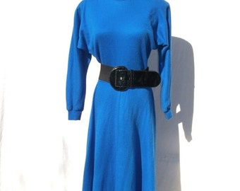 SALE 80s Royal Blue Knit Dress size Small to Medium