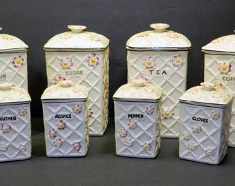 Kitchen Canister Set 1950's Vintage 16 pc Made in Japan Lattice Basket Weave and Flowers CrabbyCats, Crabby Cats