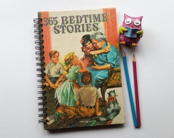 Recycled Book Journal & Notebook, 365 Bedtime Stories