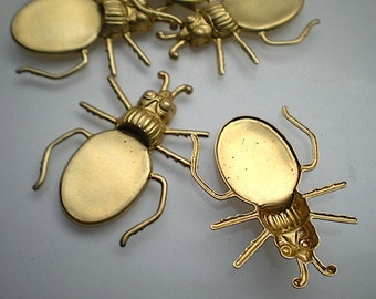 6 brass blister beetle charms, No 2
