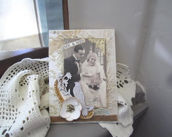 Victorian Wedding Card - Vintage Couple Card - Handmade Wedding Card
