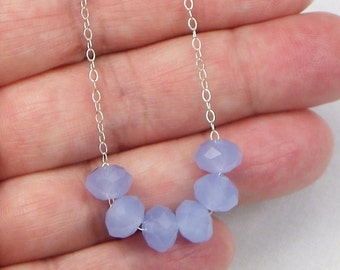 Chalcedony Sterling Silver Necklace - Gift For Her - Genuine Gemstones - Beaded Jewelry - Gemstone Jewelry