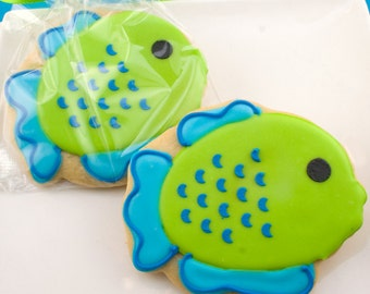 Fish Cookies, Sea Animal Party - 12 Decorated Sugar Cookie Favors