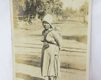 Vintage postcard real photo vietnam villager woman and baby child