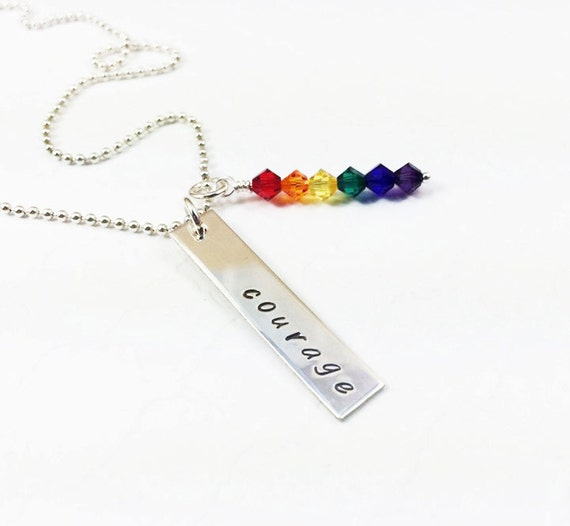 Gay Pride Necklace - LGBT Courage Jewelry - LGBT Pride Flag Gift - Lesbian Gift - Personalized Pride Necklace - Silver Hand Stamped Necklace
