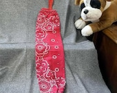 Plastic Bag Holder Sock, Red Paisley with Snowflakes Print