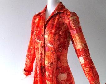 Vintage 1970s Orange Jersey Dress - Mod Medieval Print - Button Front Wing Collar - sz 4 6 8 - Megan Draper Peggy Olson Chic - Retro Mod