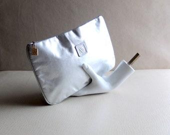 Vintage Metallic Silver Leather Disco Clutch - Anne Klein 1970s Zipper Case - Studio 54 Realness - Makeup / Evening Bag