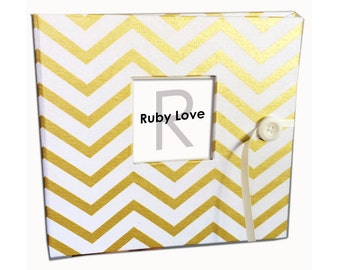 BABY BOOK | Vintage Gold Chevron Baby Book | Ruby Love Baby Memory Book