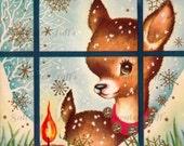 Sweet Reindeer Peeking in WIndow Image Digital Download vintage holiday xmas christmas card vintage 1950s  jingle bells  greetings baby deer