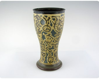 Etched Porcelain Beer Glass With Calligraphic Design