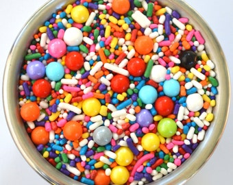 Chase the Rainbow Sprinkle Mix  4 ounces Cupcake Decorations Jimmies sugar pearls Sixlets