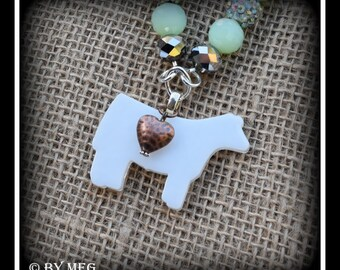 Glass Charolais Show Steer, Cattle Pendant With Beaded Necklace Approx 23""