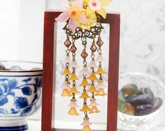 Tangerine Cherry Hydrangea blossom hair pick (HP)