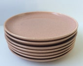 Russel Wright Pink Bread and Butter Plates, Set of Seven Stubenville Pottery Plates