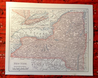 Small Vintage Map of New York State