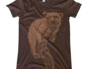 Womens Bear on Mountain Bike Brown American Apparel T Shirt - Short Sleeved Fine Jersey