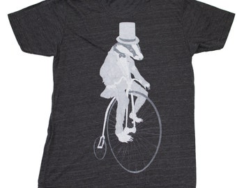 Mens Badger on a Pennyfarthing Bicycle  American Apparel Tri-Blend T Shirt