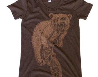 Womens Bear on Mountain Bike Brown T Shirt - Short Sleeved Fine Jersey
