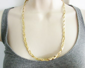 Vintage simple long gold braided chain necklace (U)