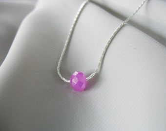 Single Bead Necklace, Purple, Silver Chain, Faceted Bead, Light Pastel Fushia, Minimalist, Glass