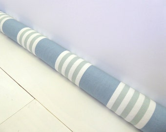 Blue Draft Stopper - Modern Home Decor - Striped Door Snake - Winter Decor - Nautical Decor - Blue And Green Striped Door Snake. A83123