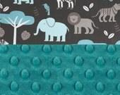 Personalized Baby Blanket  Boy - Zoo Animal Minky Baby Blanket Boy - Teal Blue Gray Blanket - Stroller Blanket - Elephant Blanket
