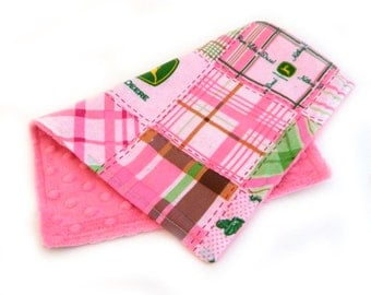 Girl Burp Cloth -Minky Pink John Deere Burp Cloth - Mini Lovey - Ready to ship