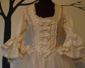 Pale Pink and tulle romantic Marie Antoinette Victorian inspired rococo costume top and tulle skirt