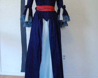lovely dark navy blue silk Marie Antoinette Victorian inspired rococo costume dress